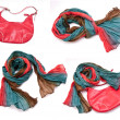 Stock Photo: A collage of colorful cotton women scarves and bag