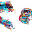 A collage of colorful cotton women's scarves — Stock Photo