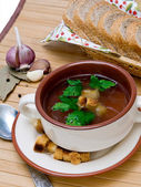 Chiken Soup with herbs — Stock Photo