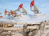 Oil barrier — Stock Photo