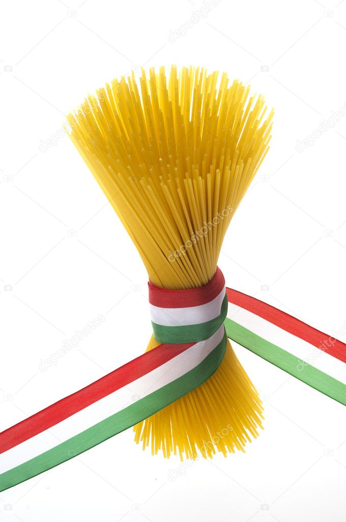 Bunch of spaghetti with italian flag  Foto Stock #5148116