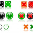Power and cancel icon set — Stock Photo