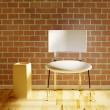 White chair with vase — Stock Photo