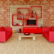 Stock Photo: 3d interior room with red sofa