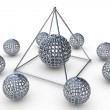 Molecular structure rendered pyramid in 3D — Stock Photo