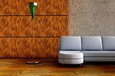 Sofá 3d con lámpara — Foto de Stock