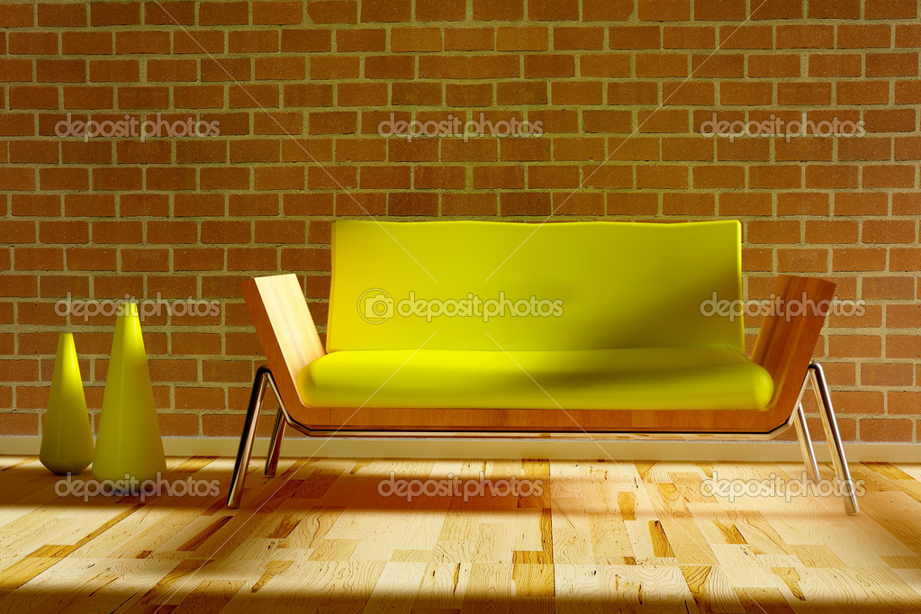 Stylish sofa with decorative two vases in 3d — Stock Photo #5037180