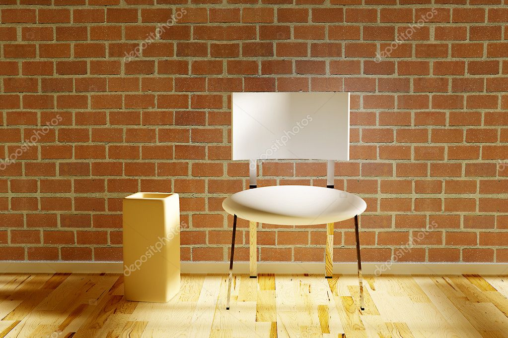 Three dimensional rendered chair with vase — Stock Photo #5037199