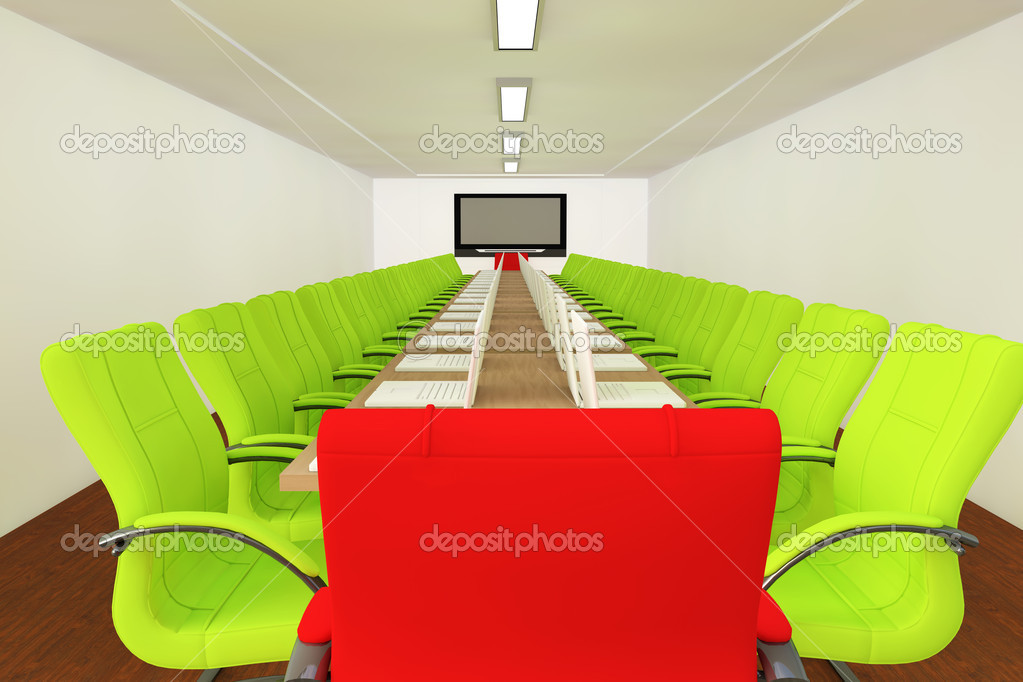 Conference room with empty chairs and television — Stock Photo #5037245