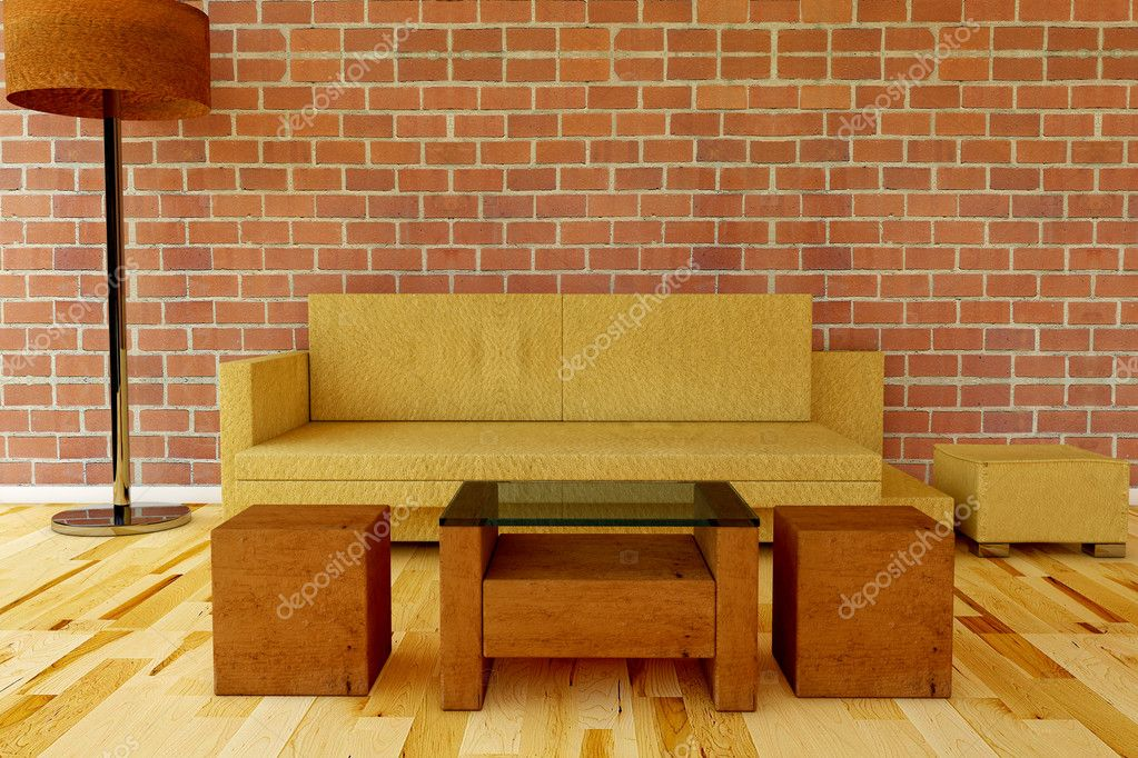 Leather Couch with table on a brick wall  — Stock Photo #5037269