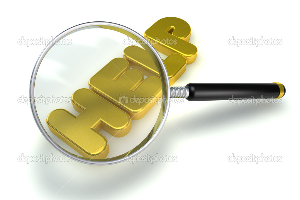 Golden help letter with magnifying glass — Stock Photo #5037734