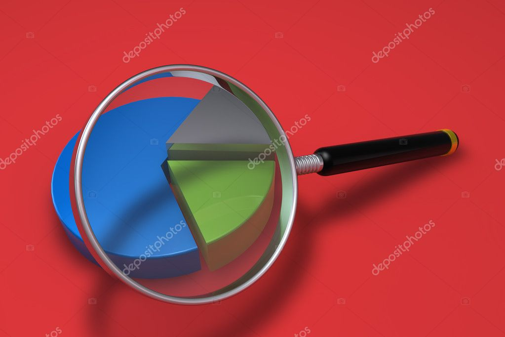 Pie chart on red background — Stock Photo #5037735