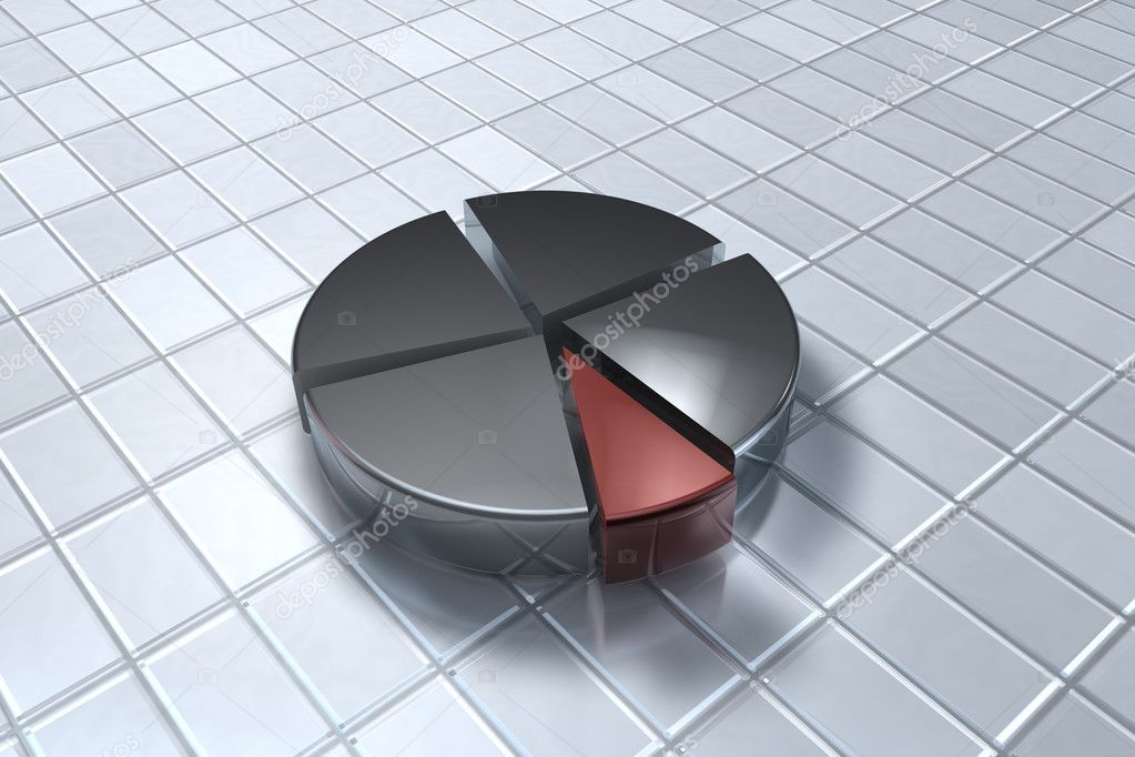 Business piechart on tile floor  Stock Photo #5038207