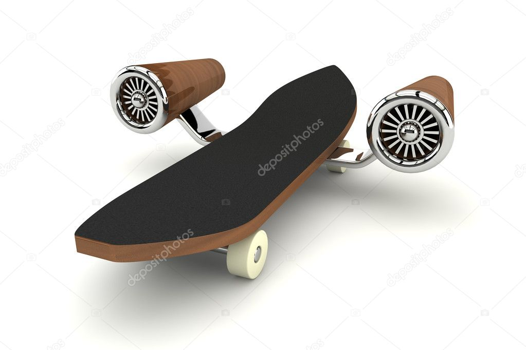 3d rendered skateboard with turbine — Stock Photo #5038525