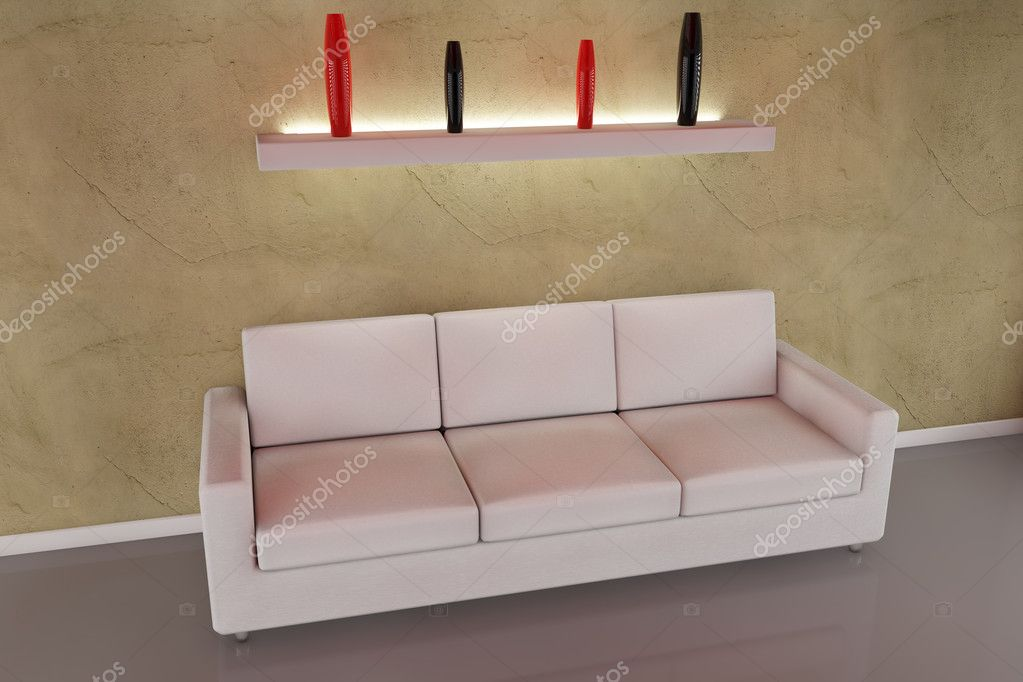 Sofa and vase with light in 3d  Stock Photo #5038538