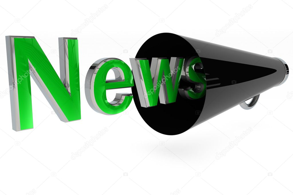 News word with a black megaphone on white background — Stock Photo #5091184