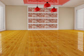 Empty red interior room — Stock Photo