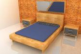 3d wood bedroom — Stock Photo