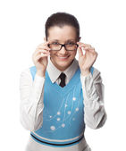 Happy manager with glasses — Stock Photo