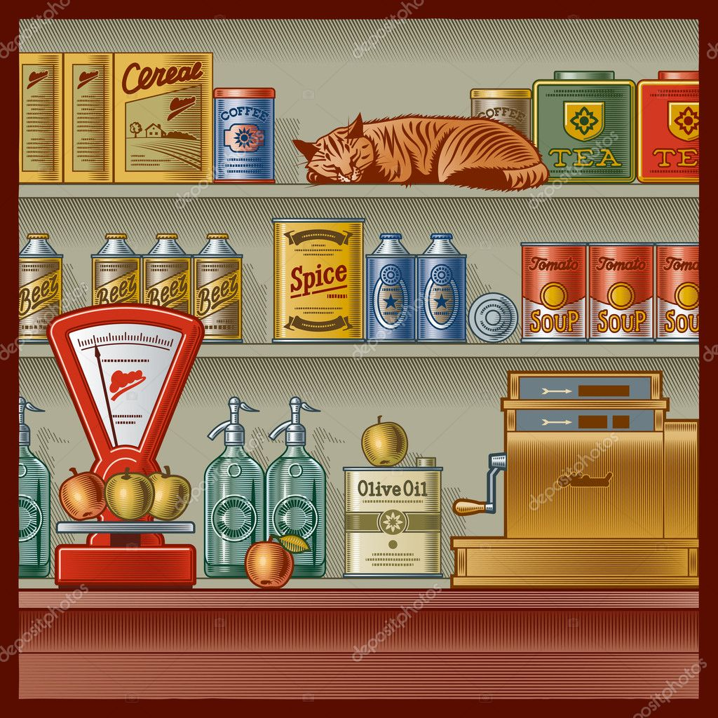 Retro store with scales, cash register, various foods and sleeping red cat. Vector illustration in woodcut style with clipping mask. — Stock Vector #4993381
