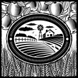 Retro farm black and white — ストックベクタ