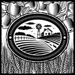 Stock Vector: Retro farm black and white