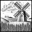 Landscape with windmill black and white — Stock Vector