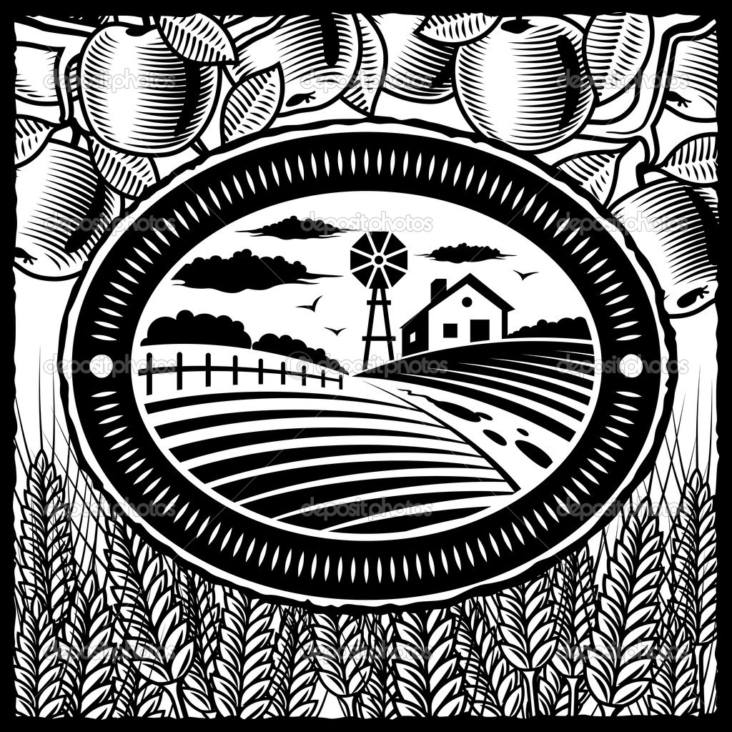 Retro farm in woodcut style. Black and white vector illustration with clipping mask. — Stock Vector #5042347