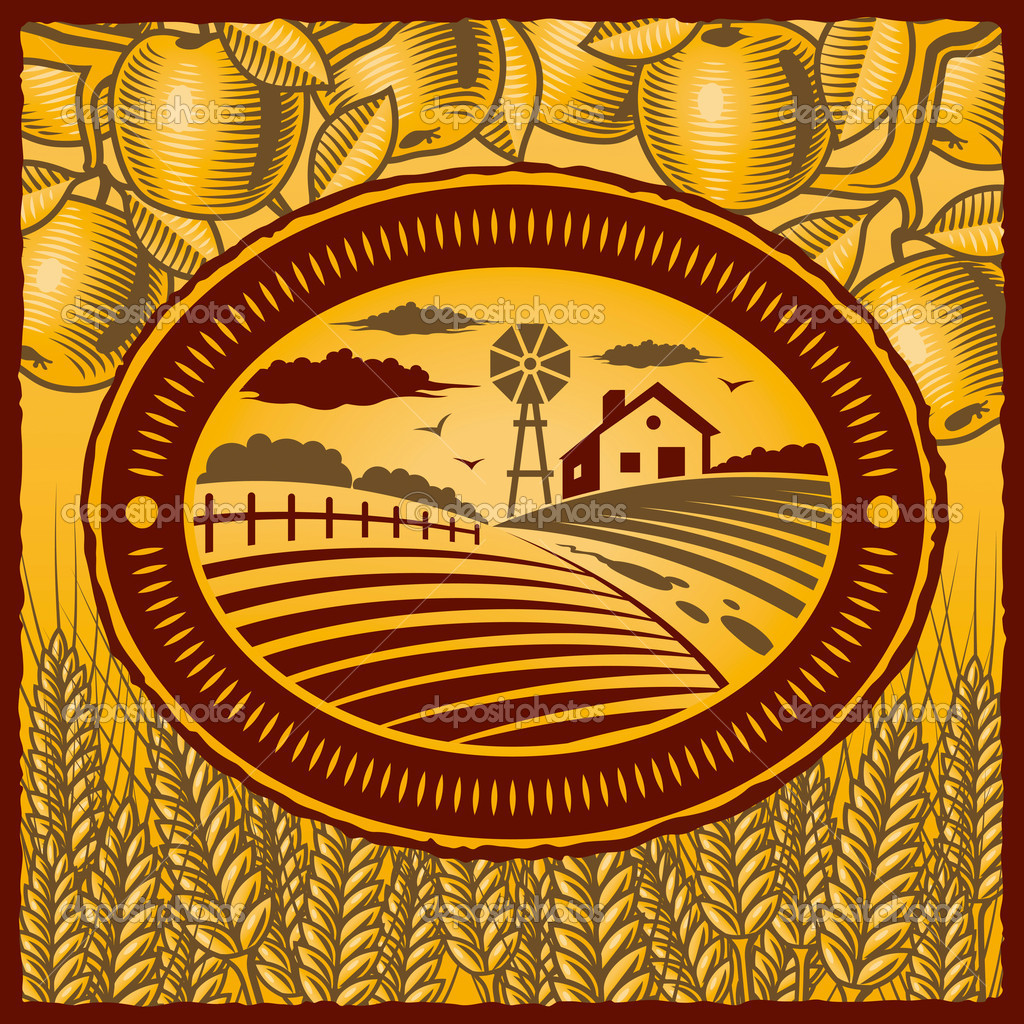 Retro farm in woodcut style. Vector illustration with clipping mask. — Stock Vector #5042375