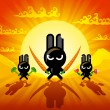 Ninja Rabbits — Stock Vector