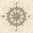 Vintage ship wheel - Stock Vector