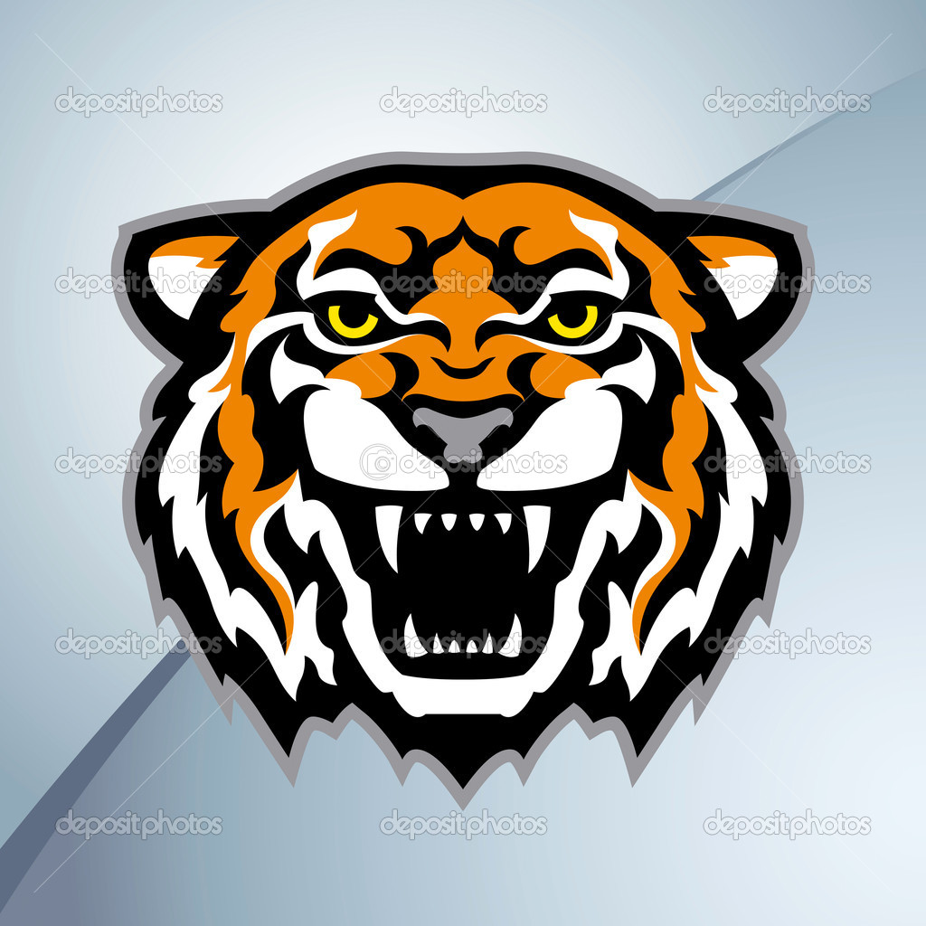Color tiger head mascot on the metal background. Stylized vector illustration. — Stock Vector #5054459