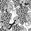 Seamless grape background black and white — Stock Vector