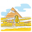 Sphinx and Great Pyramid — Stock Vector