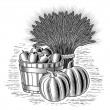Retro harvest still life black and white - Stock Vector