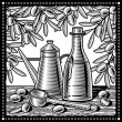 Retro olive oil still life black and white — Stock Vector