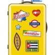 Suitcase for travel with stickers — Imagen vectorial
