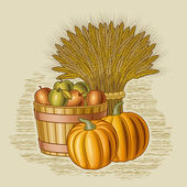 Retro harvest still life — Vector de stock