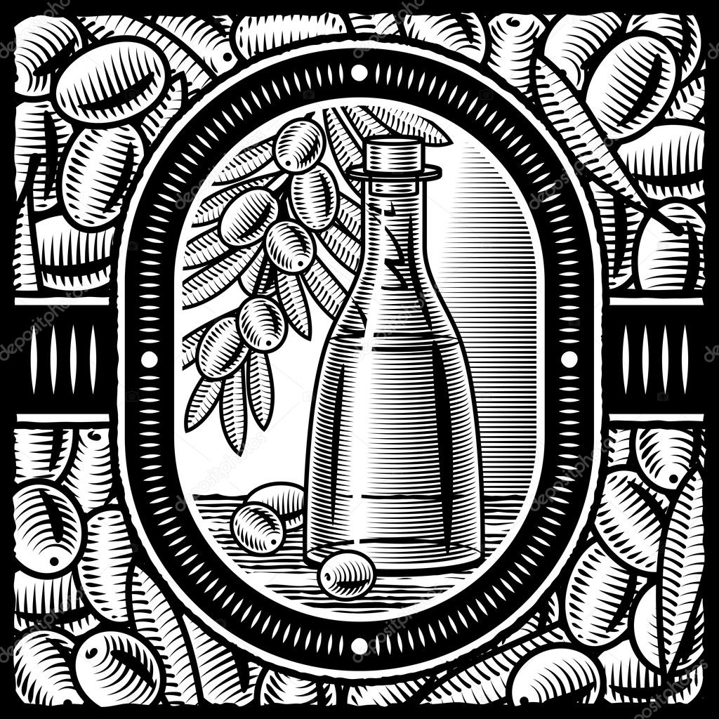 Retro olive oil still life in woodcut style. Black and white vector illustration with clipping mask. — Stock Vector #5110316