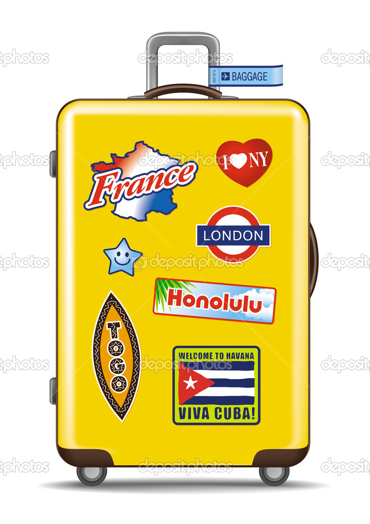 Yellow suitcase for travel, on rollers with travel stickers. Detailed vector illustration. — Stock Vector #5110570