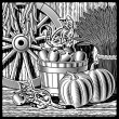 Stock Vector: Retro barn with harvest black and white