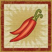 Retro chili pepper — Stock Vector