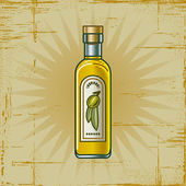 Retro Olive Oil Bottle — Stock Vector