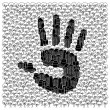 Save forests concept: Hand print — Stock Vector #5275497