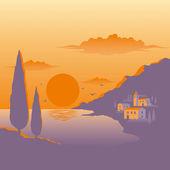 Puesta de sol mediterráneo — Vector de stock