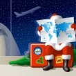 Stock Vector: Santa's Christmas travel