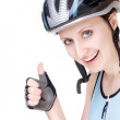 Cyclist with a thumb up — Stock Photo