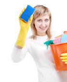 Happy cleaner — Stock Photo