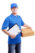 Courier with a box — Stock Photo
