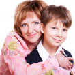 Portrait of mother and 9 year old son isolated on white — Stock Photo